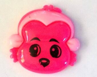 Resin Dark  Pink Monkey  Faced - Flat Back Button - #R-00082
