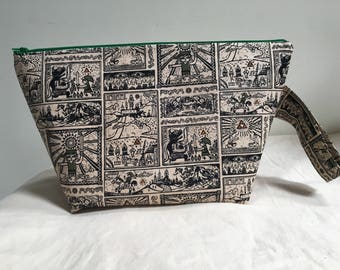 Knitting Project Bag, Sock Bag, Project Bag, Small Knitting Project Bag, Zelda Inspired Knitting Bag, WIP Bag, Zipper Bag