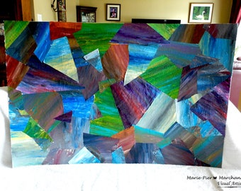 Abstract acrylic painting and collage on Cardboard Painting/ Abstract Painting /Home Interior Decoration