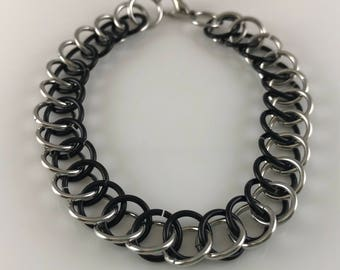Sale 25% off Black and Bright Silver Half Persian Chainmaille Bracelet