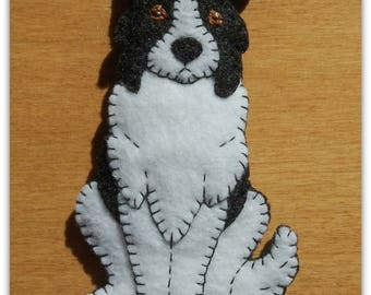 Border Collie Puppy ornament-magnet combination. Handmade embroidered felt-great doggie gift for any occasion.