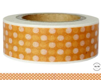 Washi Tape orange WITH white DOTS