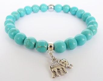 Turquoise Bracelet for women Gift sister Elephant Bracelet for mom Bracelet for her, Turquoise Jewelry Turquoise Elephant Jewelry, Mint