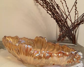 Solid, chunky, amber/gold glass, elongated vase
