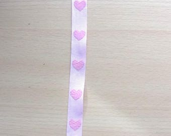 5 meters of Ribbon cotton hearts pink REF. 1823