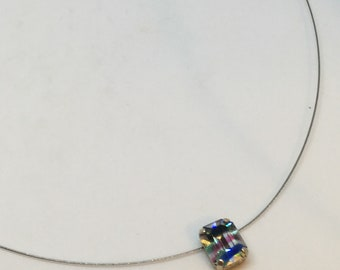 Necklace Single Stone Octagonal Iris Rainbow colour Glass Chaton Rhinestone pendant by JulieDeeleyJewellery on Etsy Ladies gift