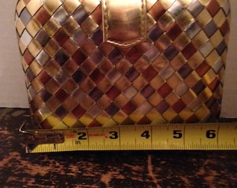 Vintage woven, metallic La Regale clutch purse