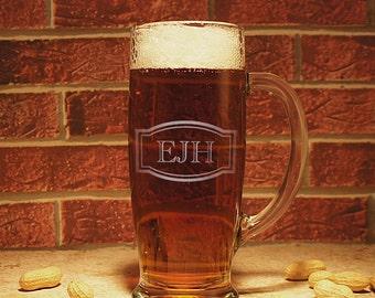 Personalized Beer Mug with Engraved Monogram Design Options & Font Selection OPTIONAL Monogrammed Magnetic Bottle Opener (Each)