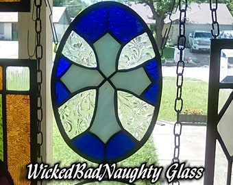WickedBadNaughty Glass Blue & Floral Cross Tiffany Suncatcher Window