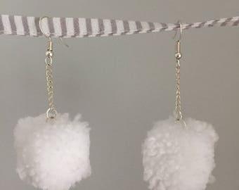 Sugar Cubes - handmade cubed pom-pom earrings