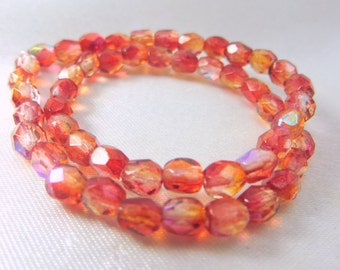 Fire Red Orange Yellow AB Czech Glass Firepolished 4mm Faceted Round jewelry beads - 1 Strand of 50