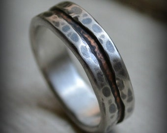 rustic wedding ring, fine silver and copper ring, unisex ring, oxidized ring, handmade wedding or engagement band, fall wedding, customized