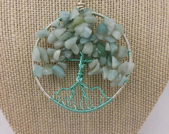 Mint green amazonite tree of life pendant necklace