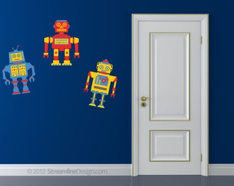 Printed Primary Robots Vinyl Wall Art - Set of 3 - on Removable Wall vinyl sticker decal retro toy kids children play room bedroom boys bot