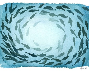 School of Fish - Watercolor 10x8 Print