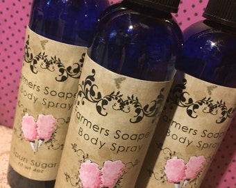 Spun Sugar Scented 4oz Body Spray - cotton candy Body Spritz Fragrance Hair Conditioner Spray Perfume Scented Body Mist