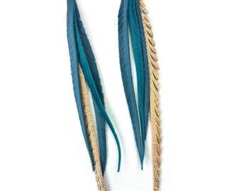 Leather Feather Earrings in blues and silvers.