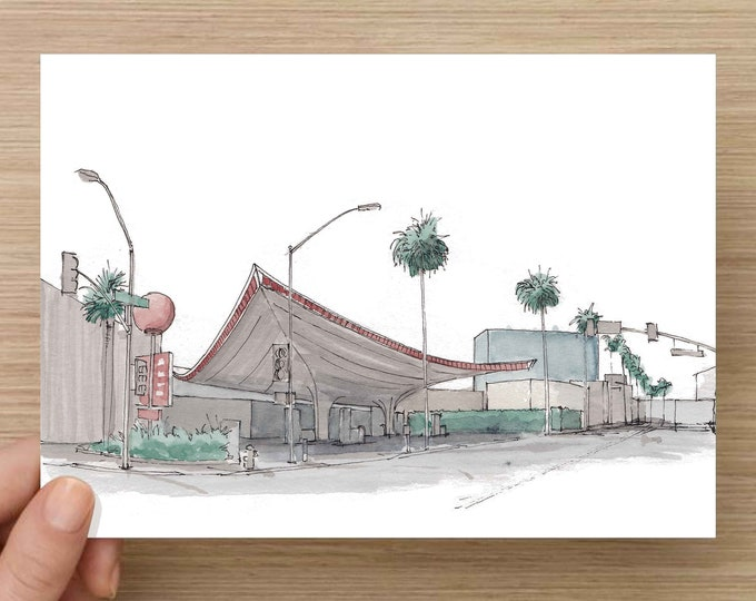 Ink and Watercolor Drawing of gas station in Beverly Hills, California - Architecture, Mid-Century, Sketch, Art, Pen and Ink, 5x7, 8x10