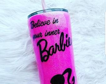 Pink barbie glitter tumbler/birthday gift/inspirational/fashion/co worker/wife/sister in law/travel coffee mug/tea cup/yeti/bridesmaid