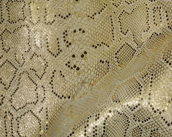 Leather 3 or 4 or 5 or 6 sq ft ELEGANT Gold Metallic on Beige Cowhide 2-2.5 oz /.8-1 mm PeggySueAlso™ E2869-02 Full hides available