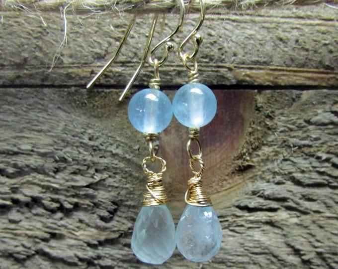 Aquamarine & 14K Gold Filled Dangle Earrings