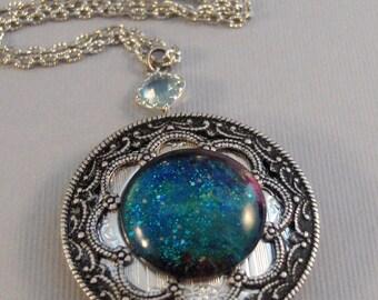 Stardust Blue,Locket,Silver,Turquoise,Blue,Galaxy Necklace,Galaxy Locket,Blue Necklace,Blue Stone,Star Locket,Star Necklace valleygirldesign