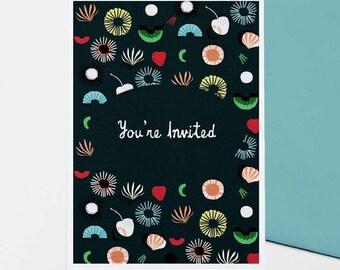 Seaflower Invites - set of 8 party invitations