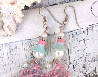 Pink and Mint Lobster Earrings, LoBsTeR JeWeLrY, Beach Earrings, BeAcH JeWelry, Sea Life EarrinGs, Ocean JewElry