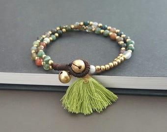 Handmade Chain Jasper Tassel Bracelet