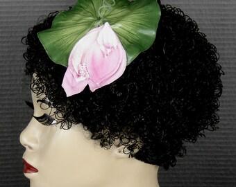 Vintage Millinery Pink Flower On A Lily Leaf Fascinator Headpiece