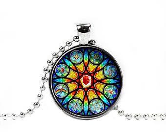 Stained Glass Necklace Stained Church Glass Pendant Stained Glass Jewelry
