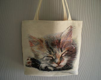 Beach bag, cat pattern upholstery fabric tote bag