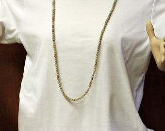 Gemstone Necklace - Long Necklace ... Nuetral Color Long Necklace over 40 inches long