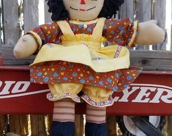 Handmade Raggedy Ann with Yellow Bows