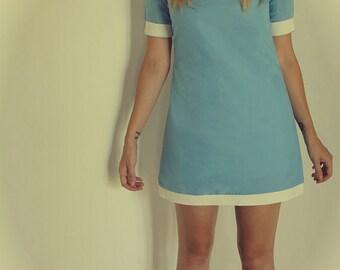Blue and White Dress Mod 1960s Vintage Design, Twiggy Mod Dress, Blue White Shift Dress, 1960s Dress, Blue 1960s Dress, Mod Blue 60s Dress