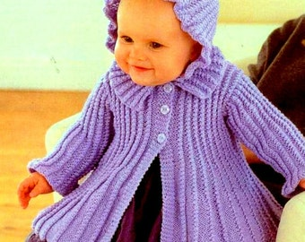 Knitting PATTERN - Baby Pattern - Coat and Bonnet/Hat - sizes 14 - 22 in DK DOWNLOAD