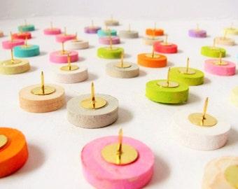 """Wood """"colorpalooza"""" thumbtacks. 6, 12, 24 or 48. Push pins made of painted maple wood."""