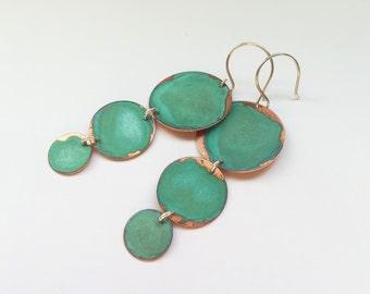 3 Drops Verdigris Earrings