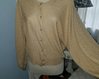 Vintage Golden Shimmery Cardigan Sweater