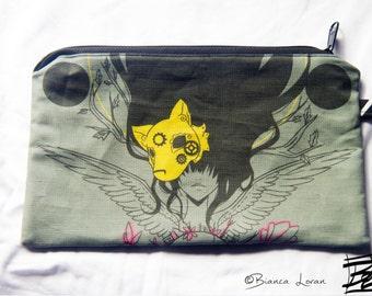 Soul Fragment Zippered Pouch - Striped Clutch bag Purse Wristlet - steampunk girl anime wolf - Cosmetic pencil school - Bianca Loran Art