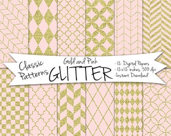 Pink and Gold Glitter Paper // Gold and Blush Digital Paper // Digital Gold Paper // Gold and Pink Digital Paper // Digital Glitter
