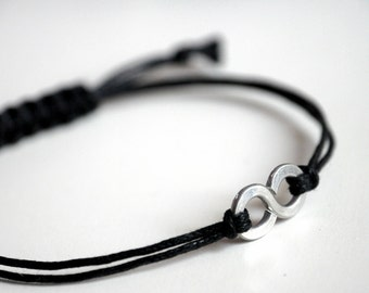 For Him Infinity Bracelet  with Square Knot - Aluminium and black waxed cotton - Men and Unisex bracelet - Vegan friendly