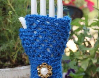 Women's Princess Royal Blue Fingerless Gloves - One Size
