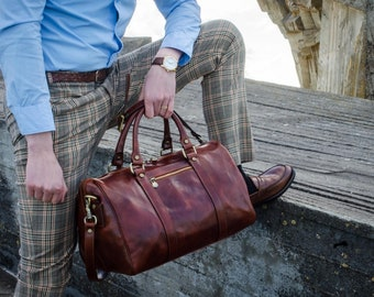 Leather Duffel, Overnight bag, Small travel bag, Leather duffel bag, Weekender bag, Carry on bag - The Ambassadors