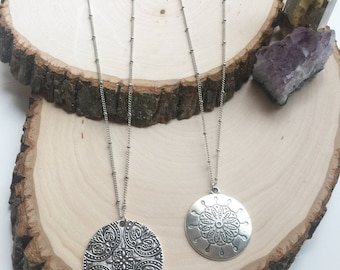 Long Silver Boho Pendant Necklace