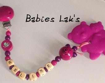 Personalized teething ring clip