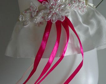 garter lace Pearl ivory Fuchsia satin ribbon piece unique!   wedding