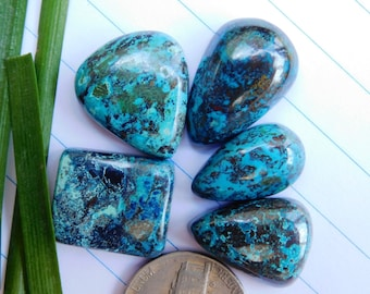 5 Pcs Lot!!! Natural Blue Azurite Cabochon Stone - Lovely Azurite Gemstone For Jewelry Use 87.65Cts. (AB-47)