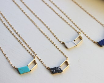 Gold Chevron Necklace, Chevron Jewelry, Geometric Necklace Turquoise Marble Howlite Lapis Christmas Gift for Her Minimalist Necklace Dainty