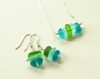 Blue and green sea glass necklace sea glass jewelry seaglass beach glass frosted glass handmade jewelry gift for mom sister friend dainty
